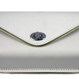 White Windshield Pouch, with Gold Edge Trim for Harley FL 1960-84