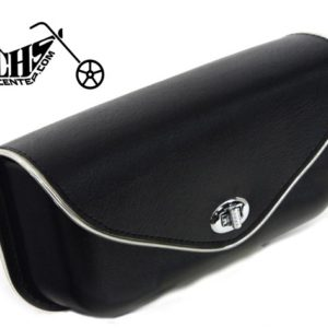 Black Windshield Pouch, with Silver Edge Trim for Harley FL 1960-84