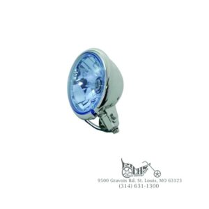"""5-3/4"""" Round Blue Faceted Headlamp Assembly 60/55 watt H4 clear bulb"""