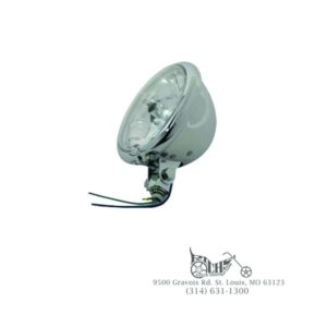 """5-3/4"""" Round Clear Faceted Headlamp Assembly 60/55 watt H4 clear bulb"""