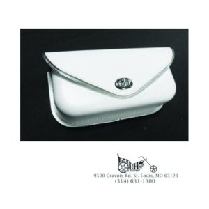 White Windshield Pouch, with Silver Edge Trim for Harley FL 1960-84