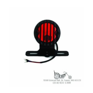 Black round tail lamp with plastic grill and red lens 12 volt bulb type