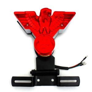 Warbird LED tail light red lens chromed housing black hinged license bracket
