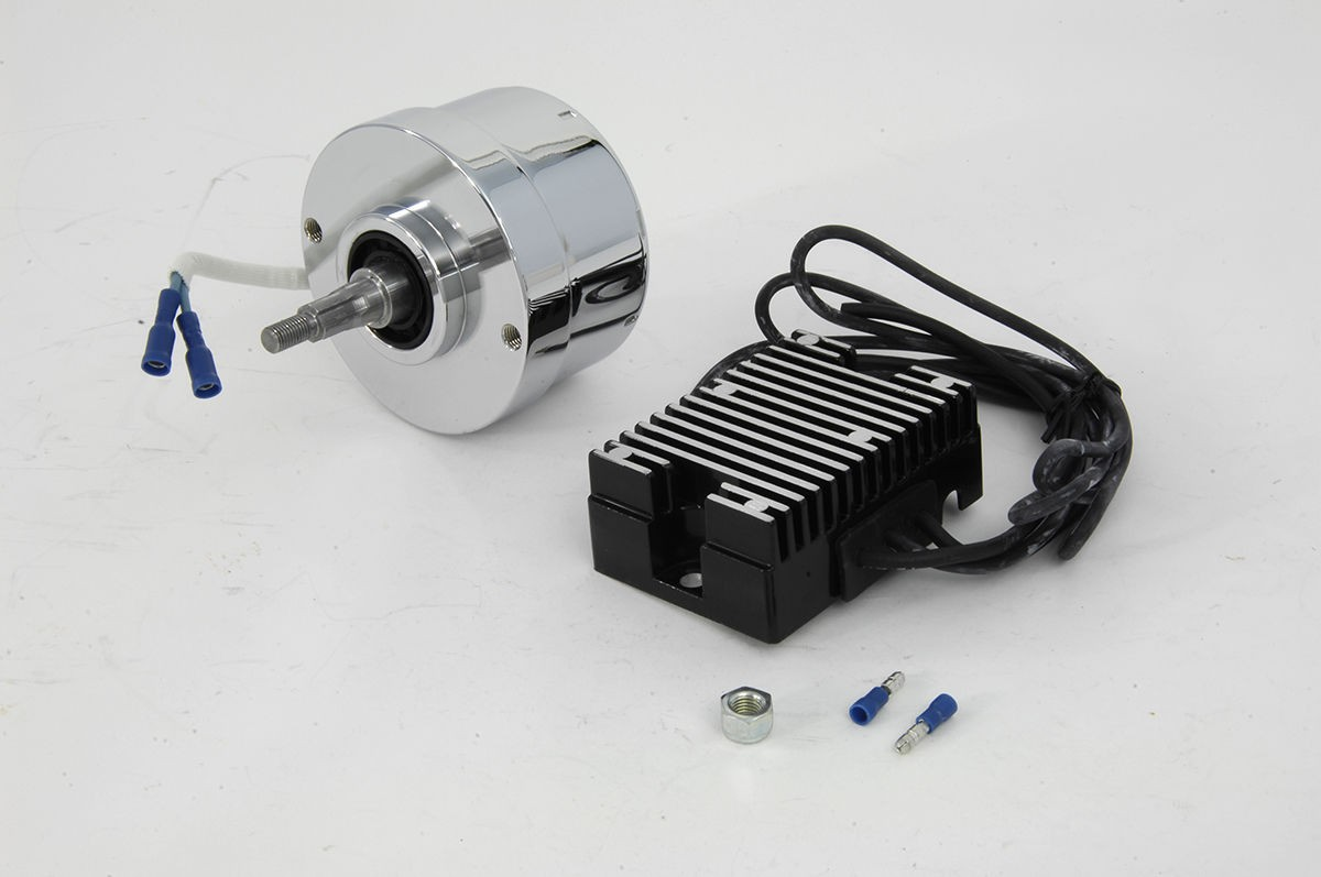 Chrome 17 Amp Generator Alternator Conversion Kit 65-83 XL 41-69 FL
