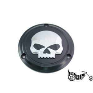 Skull Derby Cover Black for Harley FL 1970-98
