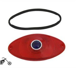 Tail Lamp Lens Cateye Style Red with Blue Dot Chrome-Replacement application