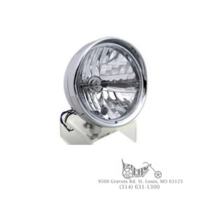 "Steel chrome 6-1/2"" headlamp with visor H-4 unit and mount block"