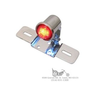 Round style tail lamp with glass lens, 12 volt bulb, and chrome bracket