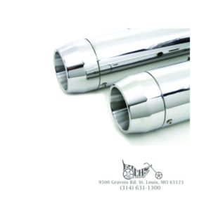 "Chrome Muffler Set with Short Tapered End Tips for Harley FLT 1995-Up (4"" Dia.)"
