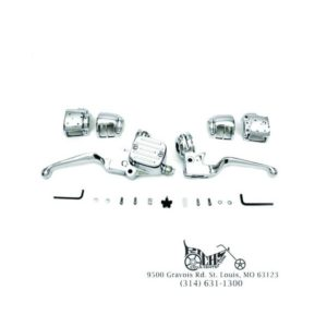 "Chrome handlebar control kit single disc 9/16"" bore FXST FLST FXD 06-Up 22-0877"