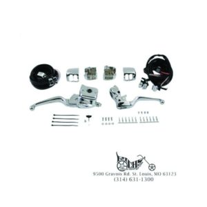 "Chrome Smooth Handlebar Control Kit 5/8"" Bore M/Cylinder Chrome Switches 22-0822"